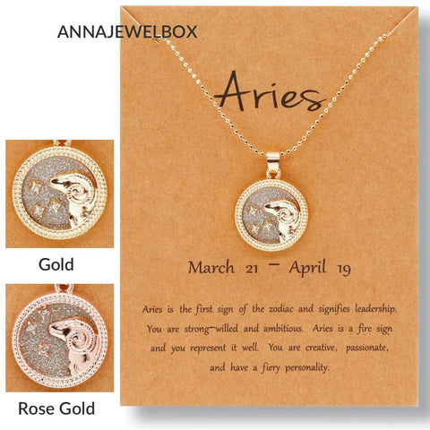 Crystal Horoscope Star Sign Zodiac Necklace Gold - AnnaJewelBox