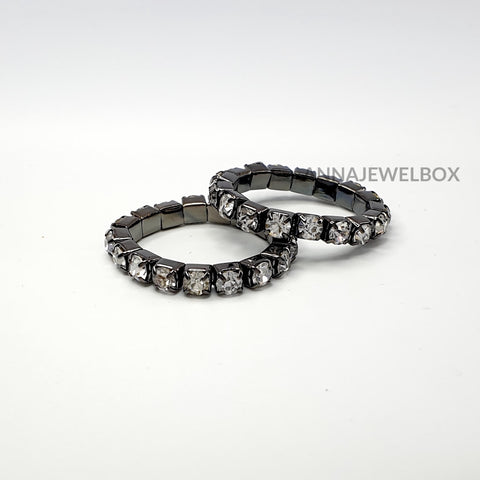 Image of Colour Sparkling Diamante Crystal Elastic Stretch Rings 1 Row - AnnaJewelBox