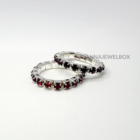 Colour Sparkling Diamante Crystal Elastic Stretch Rings 1 Row - AnnaJewelBox