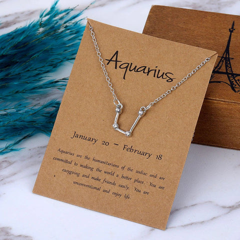 Image of Zodiac Constellation Crystal Pendant Necklace - AnnaJewelBox