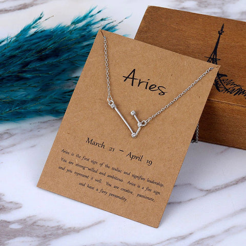 Zodiac Constellation Crystal Pendant Necklace - AnnaJewelBox