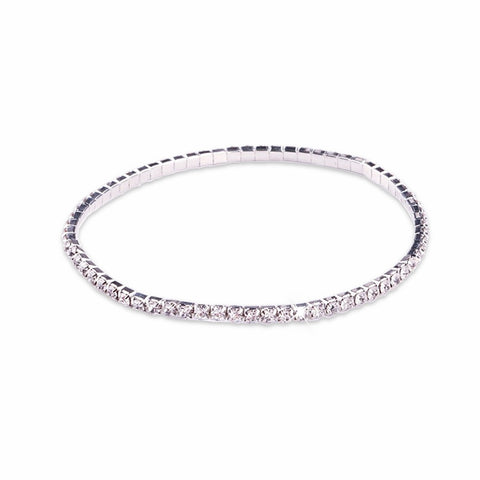 Image of Silver Crystal Stretchable Anklet - AnnaJewelBox