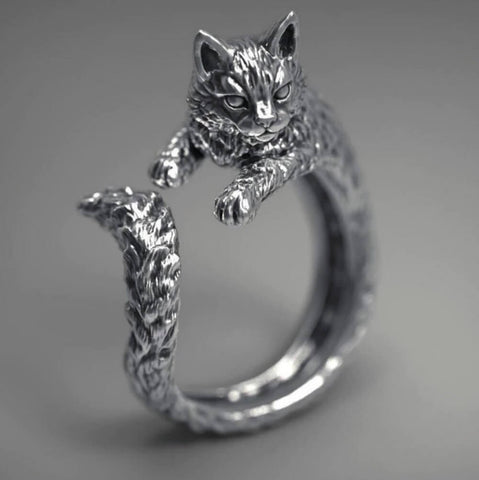 Image of Antiquated Silver Cat Ring - AnnaJewelBox