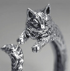 Antiquated Silver Cat Ring - AnnaJewelBox