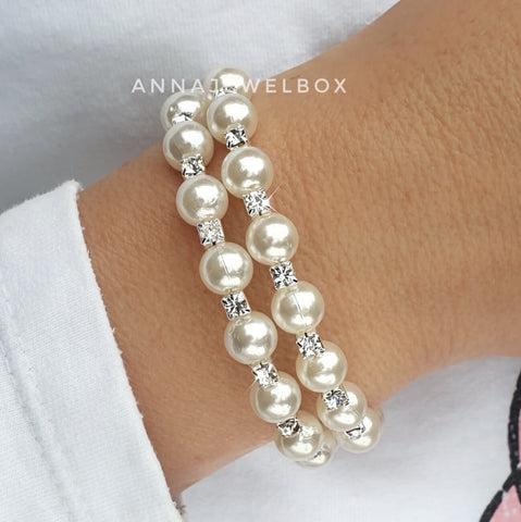 Image of Sparkly Silver Crystal Pearl Flexible Tennis Bracelet - AnnaJewelBox