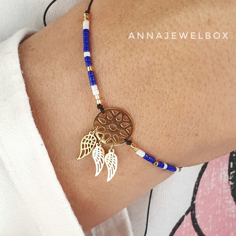 Image of Gold Dreamcatcher Charm Beaded Bracelet - AnnaJewelBox