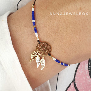 Gold Dreamcatcher Charm Beaded Bracelet - AnnaJewelBox