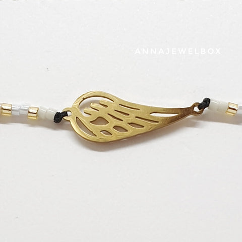 Gold Guardian Angel Wing Charm Friendship Bracelet - AnnaJewelBox