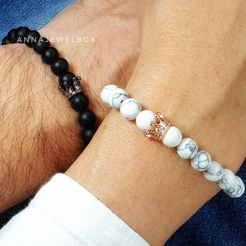 Image of Queen and King Distance Matching Couple Bracelets - AnnaJewelBox
