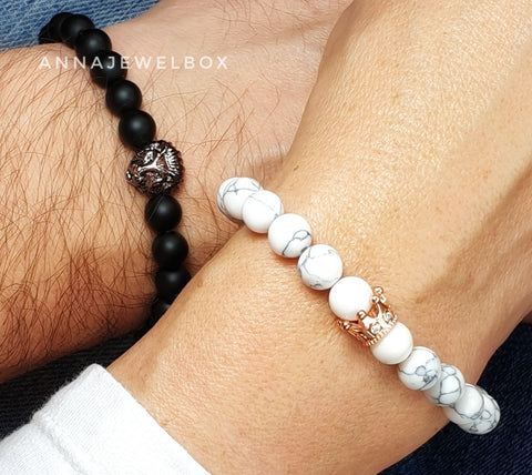 Queen and Lion King Matching Couple Bracelets - AnnaJewelBox