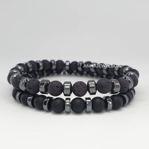 Hematite and Lava Stretch Twin Bracelets Set for Men - AnnaJewelBox