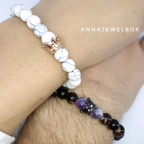 Image of Queen and King Purple Distance Matching Couple Bracelets - AnnaJewelBox