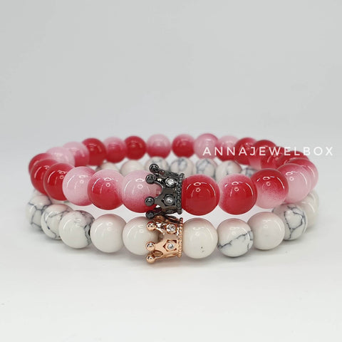 Image of Queen and King Red Distance Matching Couple Bracelets - AnnaJewelBox