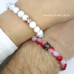 Queen and King Red Distance Matching Couple Bracelets - AnnaJewelBox