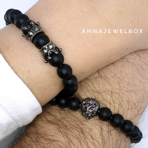 Queen's Crown and Lion King Matching Couple Bracelets - AnnaJewelBox