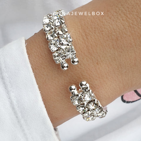 Statement 2 Rows Silver Crystal Flexible Tennis Bracelet - AnnaJewelBox