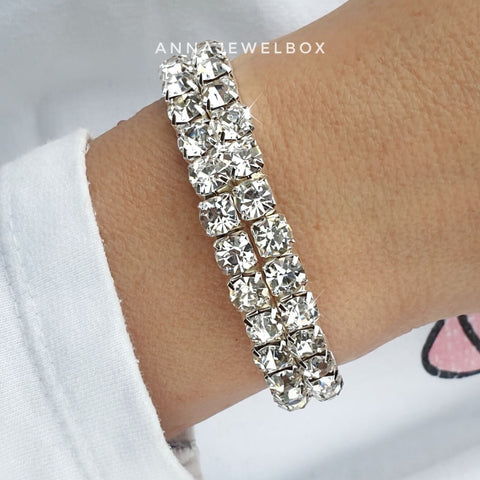 Image of Statement 2 Rows Silver Crystal Flexible Tennis Bracelet - AnnaJewelBox