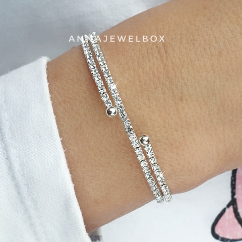 Image of Elegant 2 Rows Silver Crystal Flexible Tennis Bracelet - AnnaJewelBox