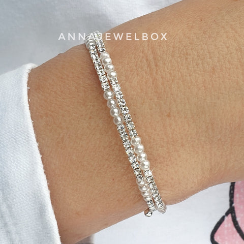 Image of Elegant 3 Rows Pearls and Silver Crystal Flexible Tennis Bracelet - AnnaJewelBox