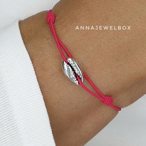 Hot Colours Silver Cowrie Shell Beach Bracelet Set - AnnaJewelBox