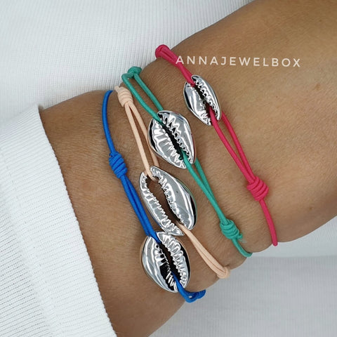 Image of Hot Colours Silver Cowrie Shell Beach Bracelet Set - AnnaJewelBox