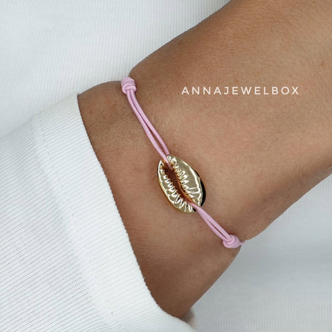 Image of Hot Colours Gold Cowrie Shell Beach Bracelet Set - AnnaJewelBox