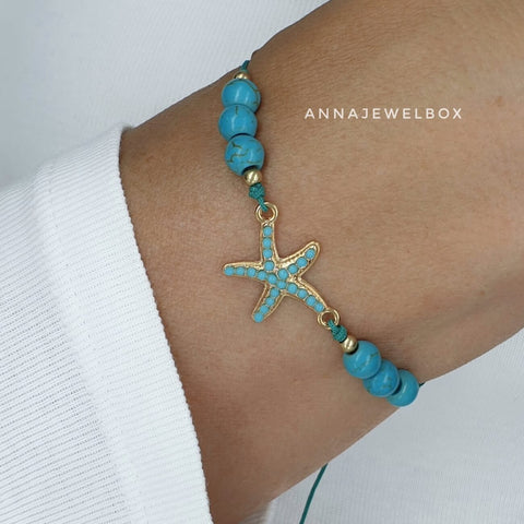 Summer Turquoise Sea Star Beach Bracelet - AnnaJewelBox