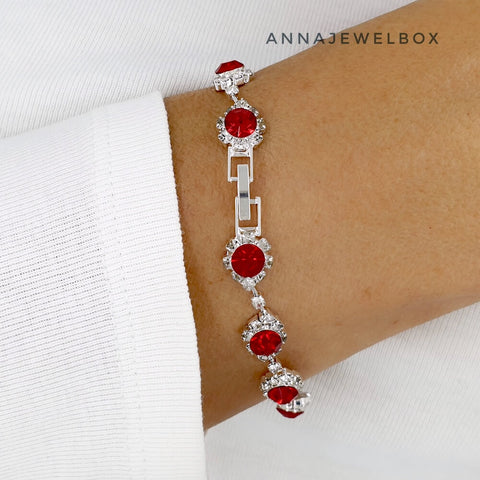Image of Elegant Red and White Diamante Crystals Sparkling Bracelet - AnnaJewelBox
