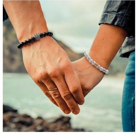 Queen and King Matching Couple Bracelets - AnnaJewelBox