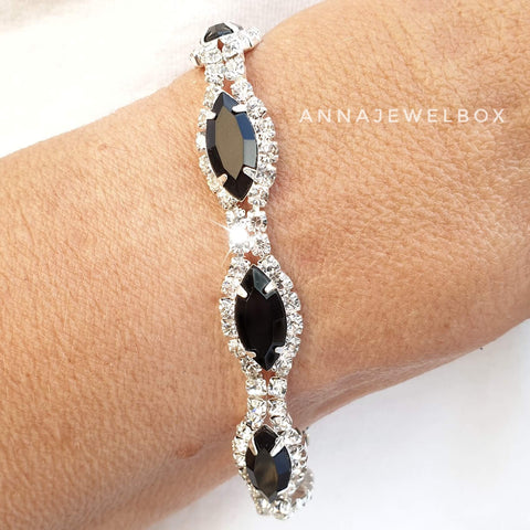 Black and White Cubic Zirconia Diamante Crystals Sparkling Bracelet - AnnaJewelBox