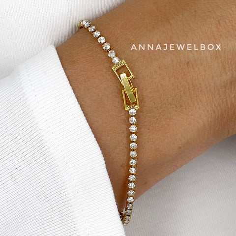 Image of Classy Diamante Crystals Gold Tennis Bracelet - AnnaJewelBox