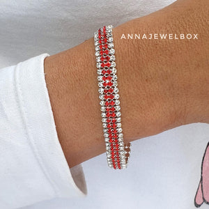 Red and White Statement Diamante Crystals Sparkling Bracelet - AnnaJewelBox