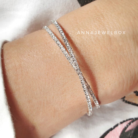 Image of Cross Silver Crystal Flexible Tennis Bracelet - AnnaJewelBox