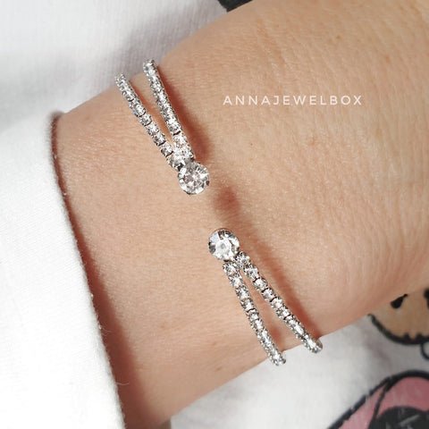 Image of Cross Silver Crystal Flexible Tennis Bracelet