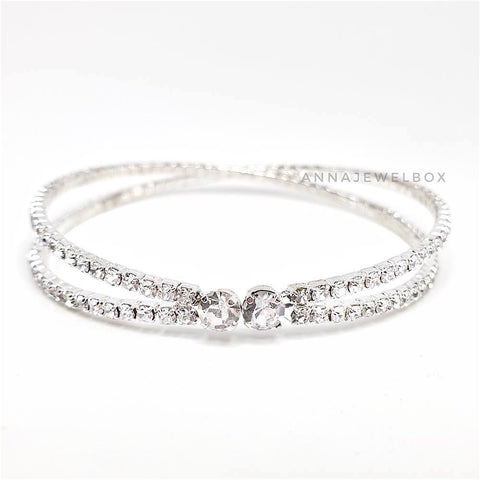 Cross Silver Crystal Flexible Tennis Bracelet