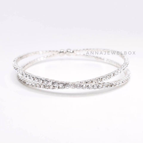 Cross Silver Crystal Flexible Tennis Bracelet - AnnaJewelBox