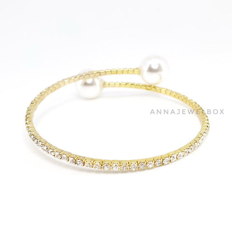 Luxury Gold Crystal Pearl Flexible Tennis Bracelet - AnnaJewelBox