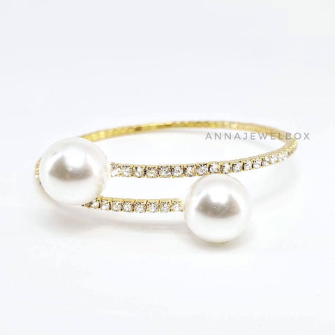 Image of Luxury Gold Crystal Pearl Flexible Tennis Bracelet - AnnaJewelBox