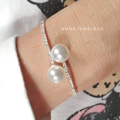 Image of Luxury Silver Crystal Pearl Flexible Tennis Bracelet