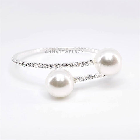 Luxury Silver Crystal Pearl Flexible Tennis Bracelet - AnnaJewelBox