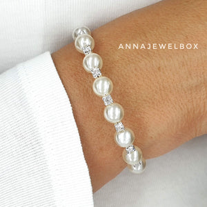 Silver Crystal Diamante Pearl Flexible Tennis Bracelet - AnnaJewelBox