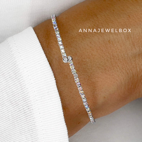 Iridescent Diamante Silver Flexible Tennis Bracelet - AnnaJewelBox