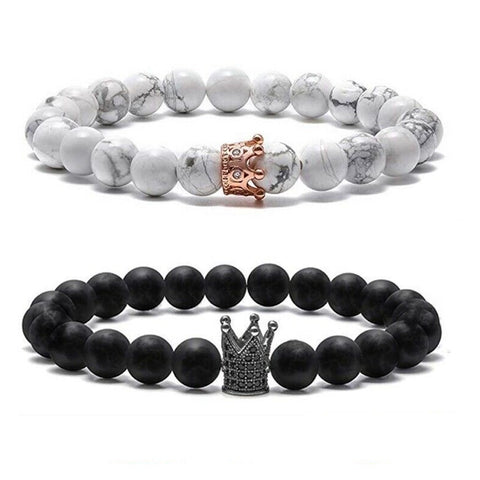 Image of Queen and King Matching Couple Bracelets - AnnaJewelBox