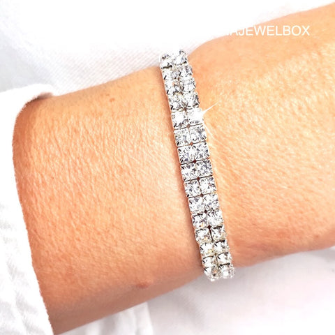 2 Rows White Diamante Elastic Stretch Tennis Bracelet - AnnaJewelBox