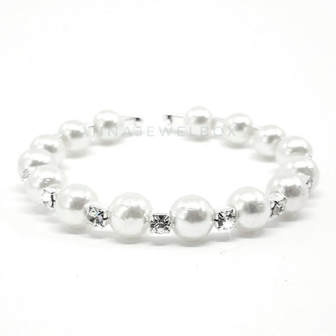Image of Silver Crystal Diamante Pearl Flexible Tennis Bracelet - AnnaJewelBox