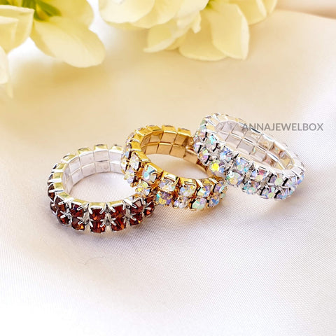 Image of Colour Sparkling Diamante Crystal Elastic Stretch Rings 2 Rows - AnnaJewelBox