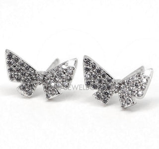 Sparkling Diamante Butterfly Stud Earrings - AnnaJewelBox