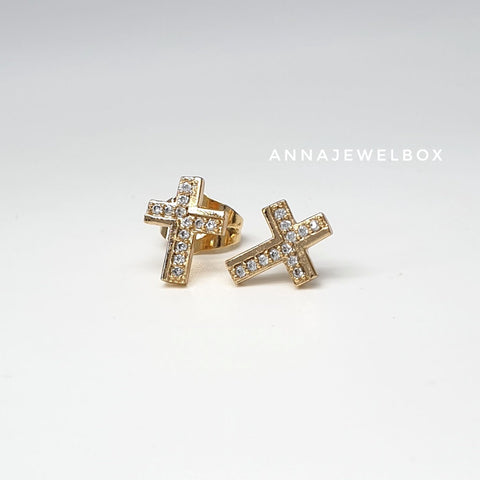 Sparkling Gold Diamante Cross Stud Earrings - AnnaJewelBox