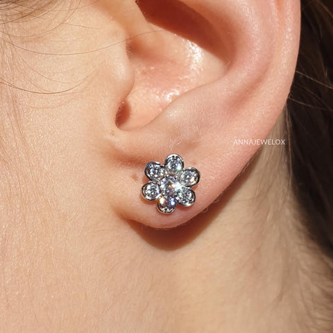 Sparkling Diamante Flower Silver Bridal Stud Earrings - AnnaJewelBox
