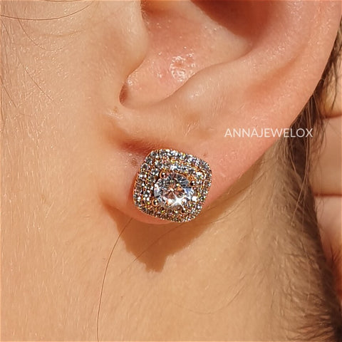 Image of Lavish Sparkling Diamante Gold Bridal Stud Earrings - AnnaJewelBox